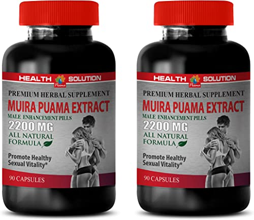 Male Enhancing Pills Increase Sex Drive – Muira PUAMA Extract 2200 Mg – Male Enhancement Pills – Brain Memory Vitamins – 2 Bottles 180 Capsules