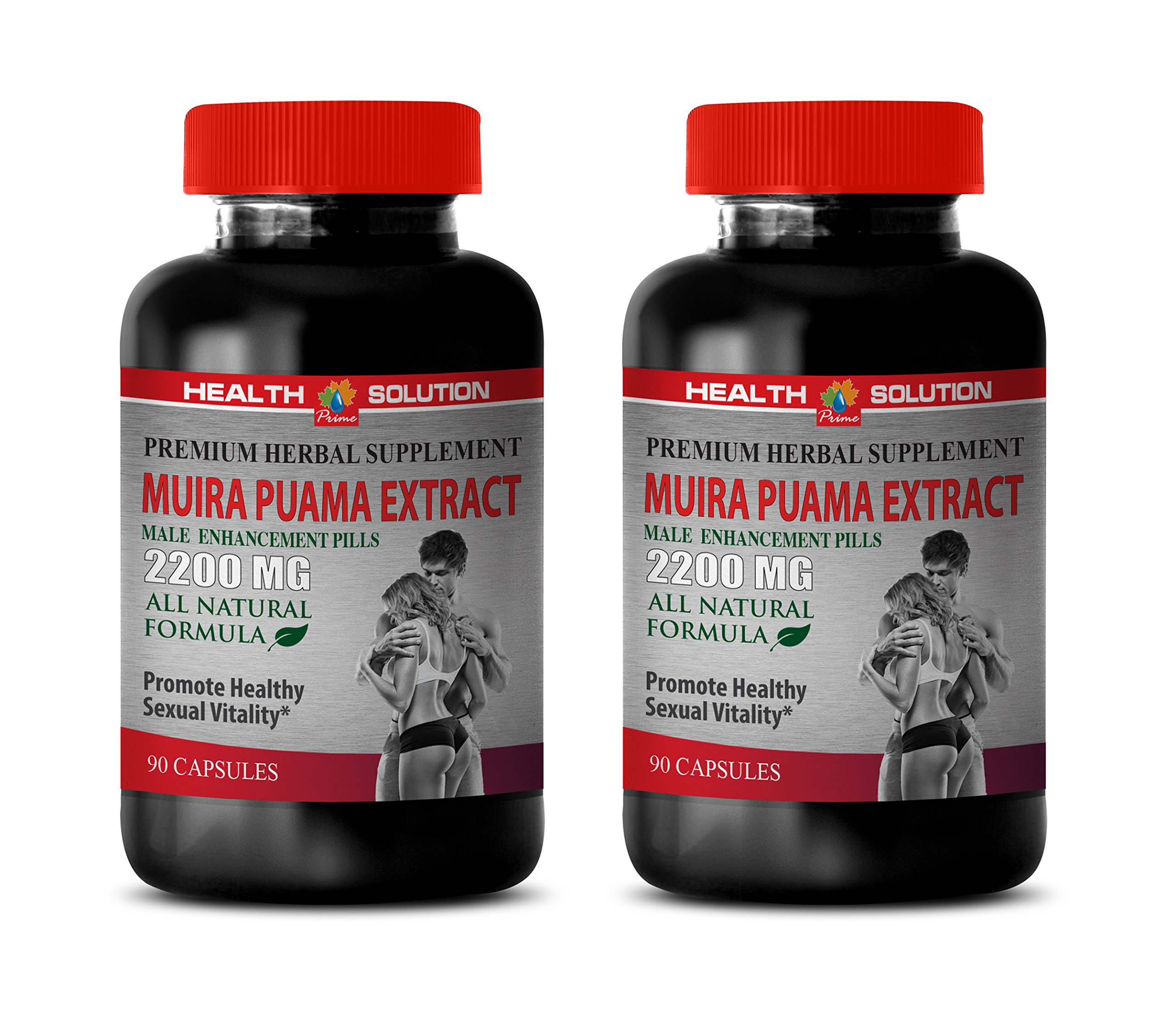 Male Libido Booster Natural - Muira PUAMA Extract 2200 Mg - Male Enhancement Pills - Energy Booster Pills - 2 Bottles 180 Capsules