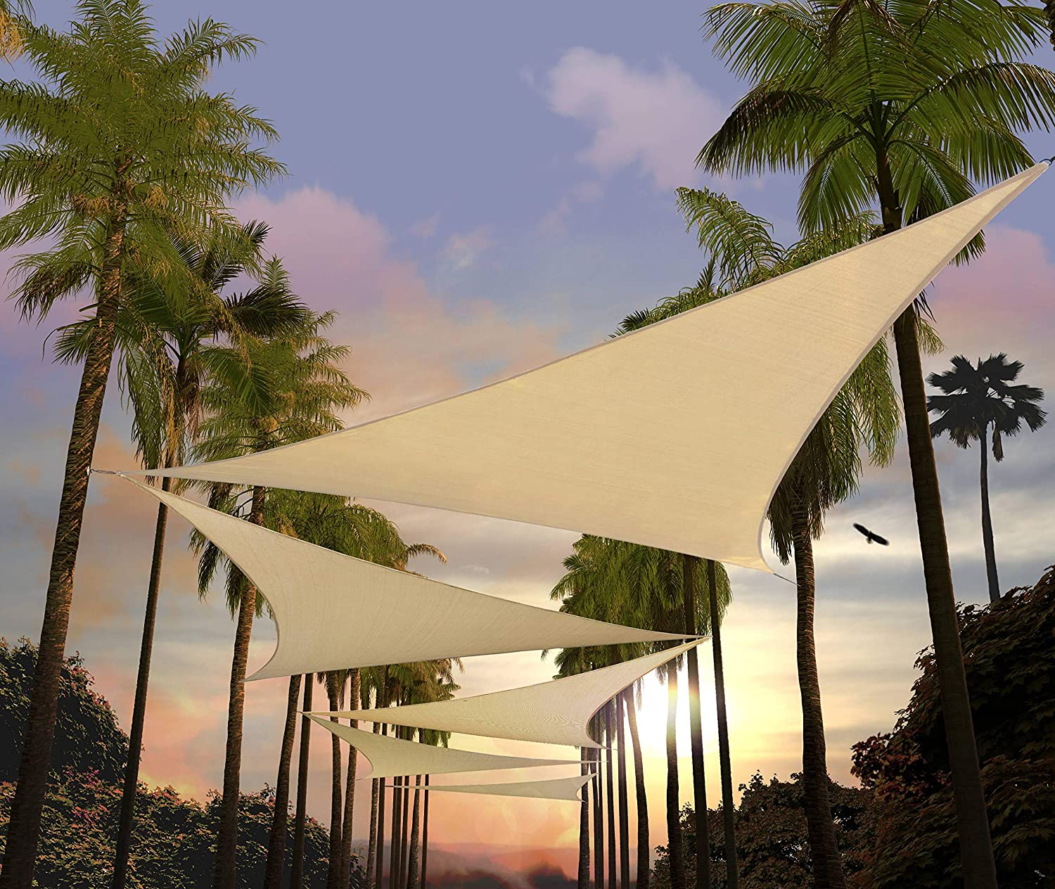 Amgo 28' x 28' x 28' Beige Triangle Sun Shade Sail Canopy Awning, 95% UV Blockage Water & Air Permeable, Commercial & Residential, for Patio Yard Pergola (Available for Custom Sizes)