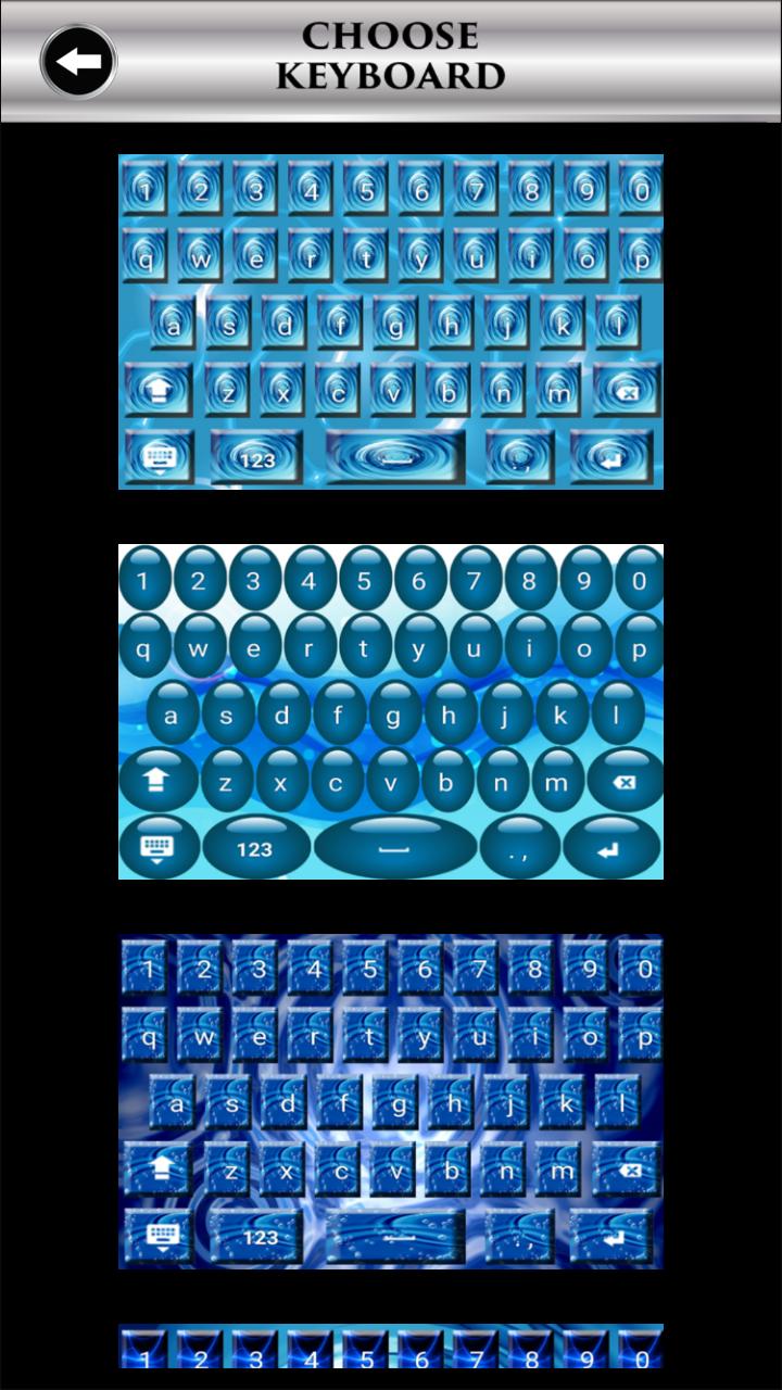 Teclados de agua azul