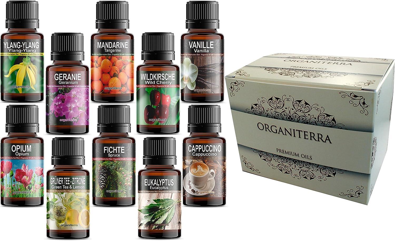 organiterra 10 Botellas Aceites Esenciales Perfumados en Caja de Regalo Aceites Esenciales Puros (REF74) + Tarjeta de Sensaciones de Aromaterapia Gratuita. Paquete de Aromas Surtidos