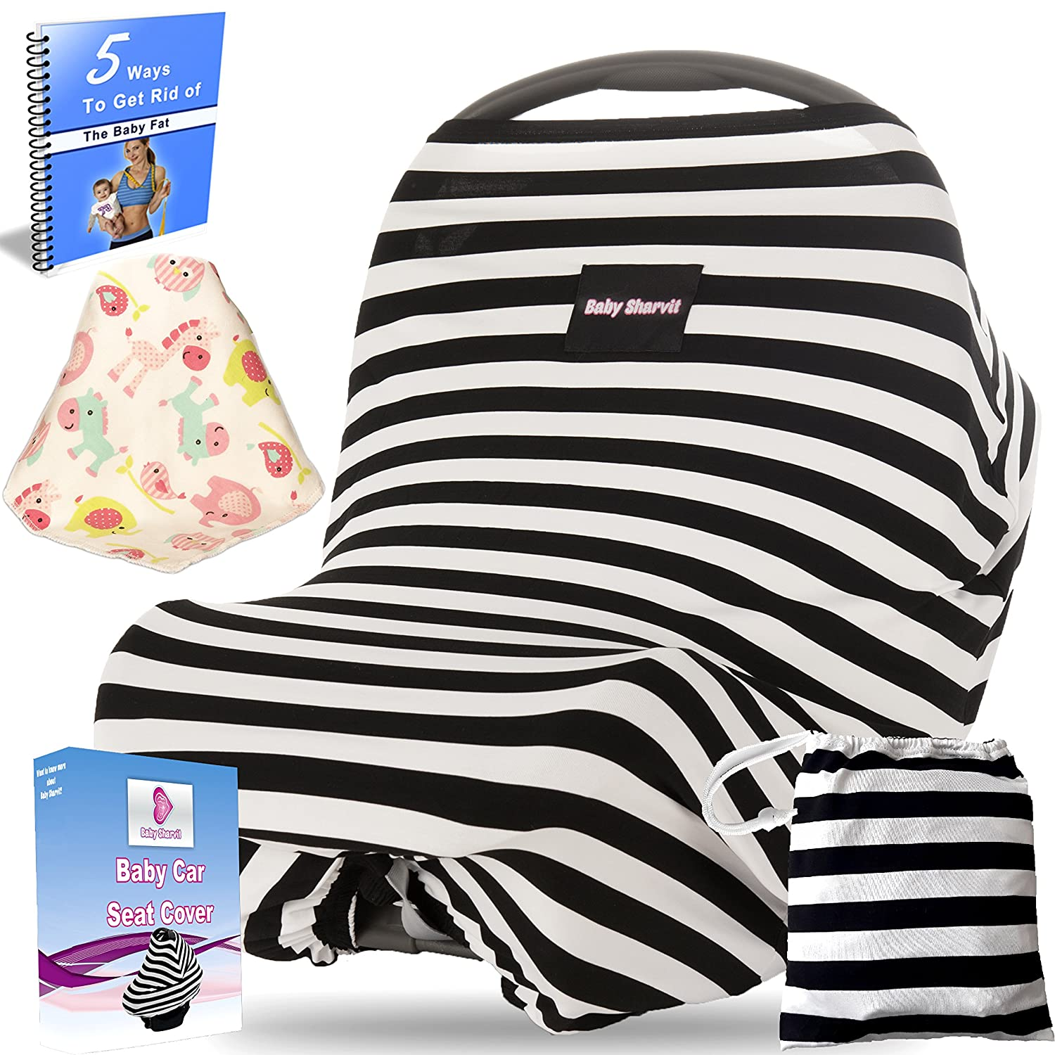 Amazon.com Baby Car Seat Cover Canopy Nursing Cover\ Breastfeeding Cover Shopping Cart Cover \ high Chair Cover - 4 IN 1 - Unisex - Black and White ... & Amazon.com: Baby Car Seat Cover Canopy Nursing Cover ...