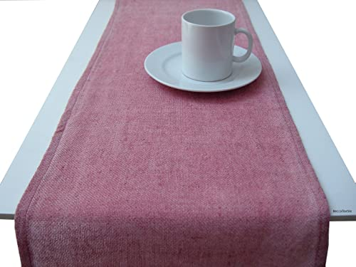 Camino de mesa rosa tintado a mano.Camino de mesa de yute natural ...