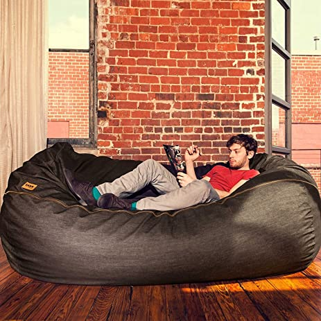 Jaxx 7 Ft Giant Bean Bag Sofa Black Denim