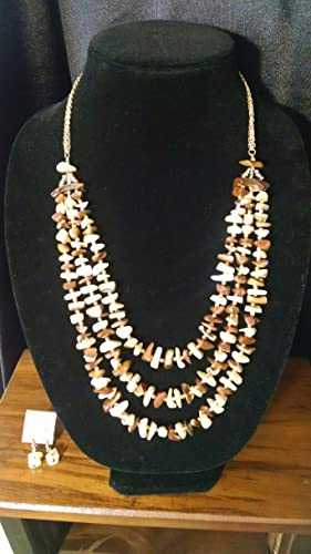 7de5e7294ee22 Amazon.com: Vintage Mother Of Pearl necklace and earring set: Handmade