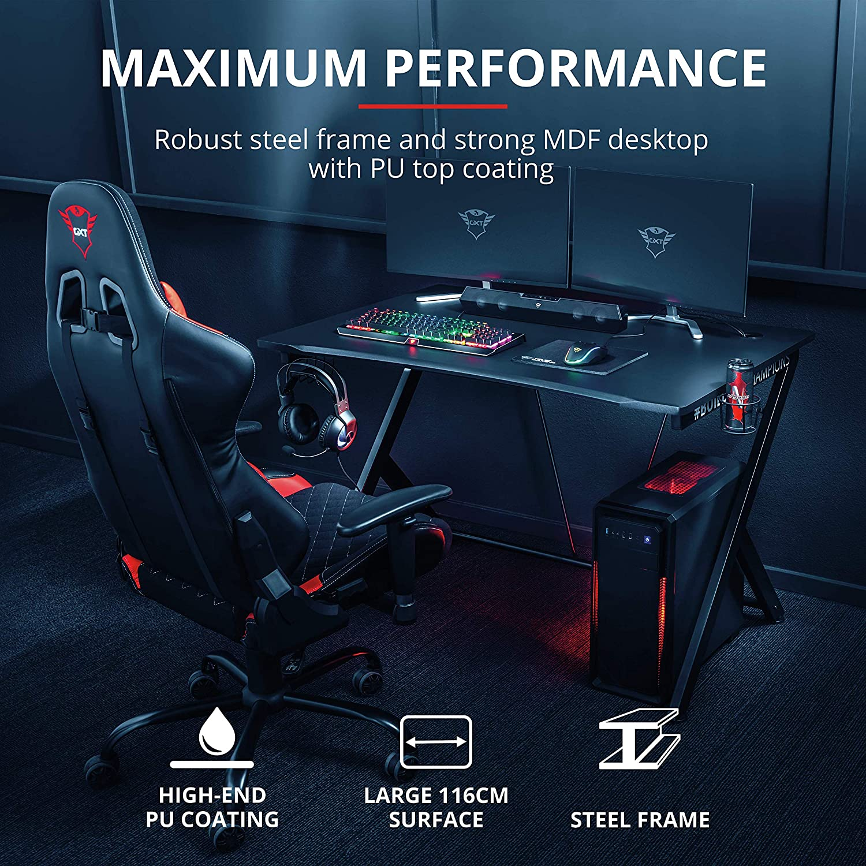 Trust Gaming GXT 711 Dominus Mesa para Gaming, Negro, 73.5 X 115 X ...