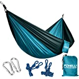 Foxelli #1 Camping Hammock – Ultralight Nylon Portable Parachute, Best for Light Backpacking Survival Beach Travel & Backyard Fun – Tree Ropes and Carabiners Included