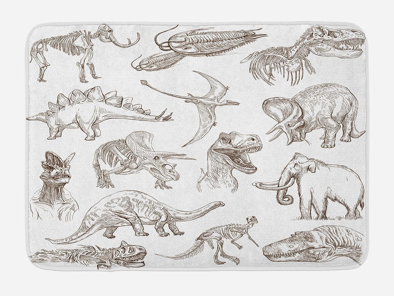Ambesonne - Alfombrilla de Baño con Diseño de Dinosaurios, Color Marrón Oscuro y Blanco: Amazon.es: Hogar