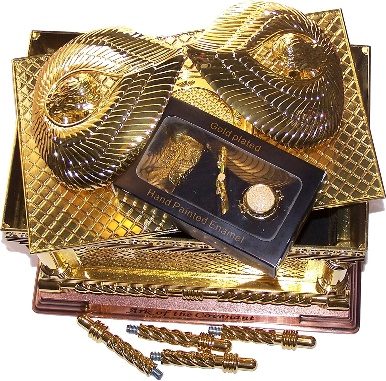 The Ark of The Covenant Gold Plated with Ark Contents Replica Large Holy Land Market ArkLargeSet Aaron Rod, Tablets and Manna
