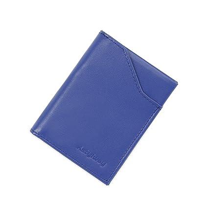 YRTECH Cartera frontal de bolsillo para hombres Bloqueo RFID Tarjeta de crédito Cartera de cuero genuino (Delgado-Azul)