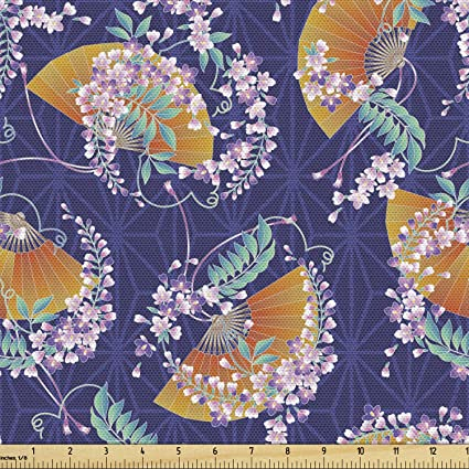 Lunarable Japanese Fabric By The Yard Wisteria Flowers Kimono Pattern On A Geometric Background Traditional Decorative Fabric For Upholstery And Home Accents Multicolor