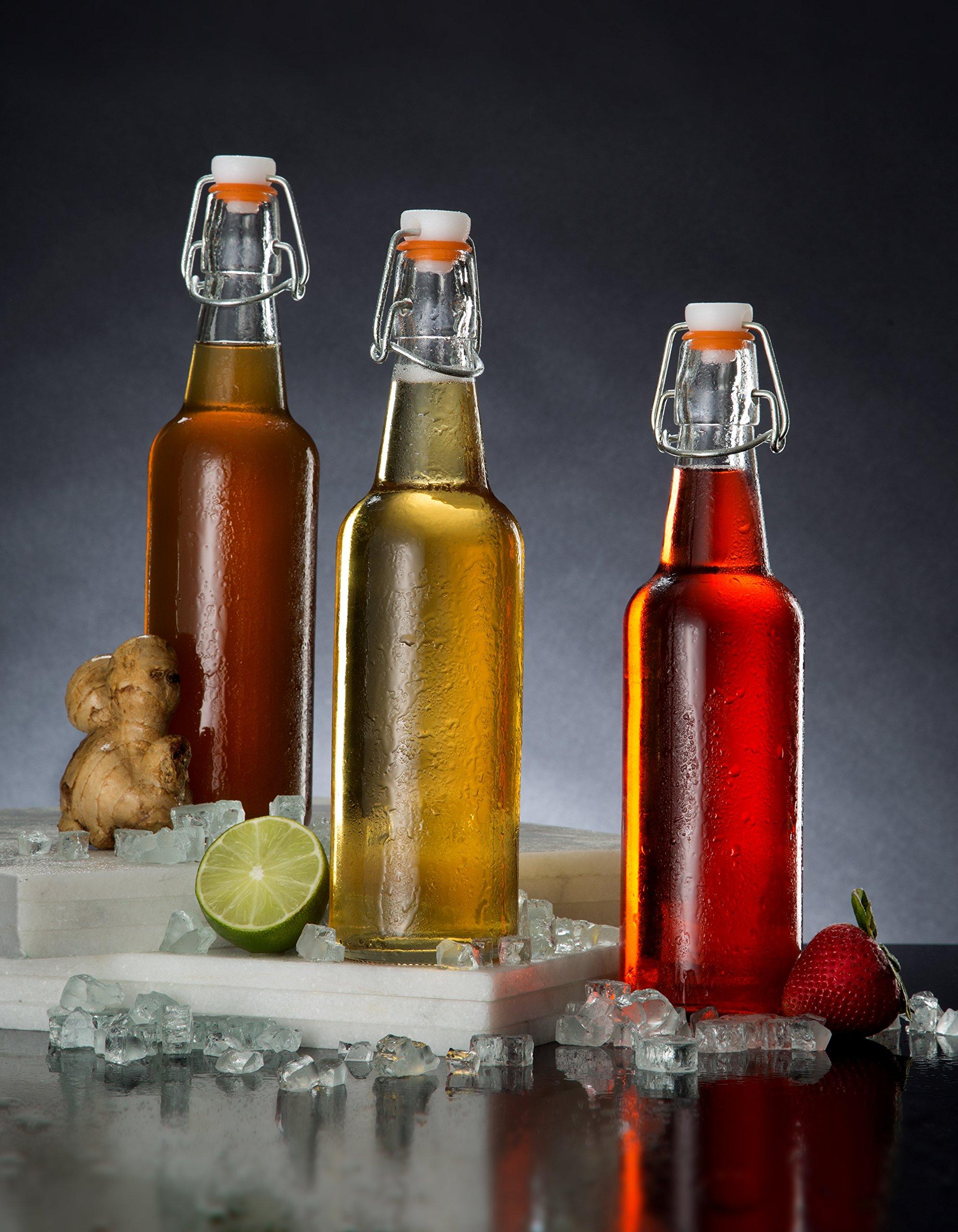Zuzoro Glass Kombucha Bottles For Home Brewing Kombucha Kefir or Beer - 16 oz Clear Glass Grolsch Bottles case of 6 w/ Easy Swing top Cap w/ Gasket Seal Tight by Zuzuro (Image #6)