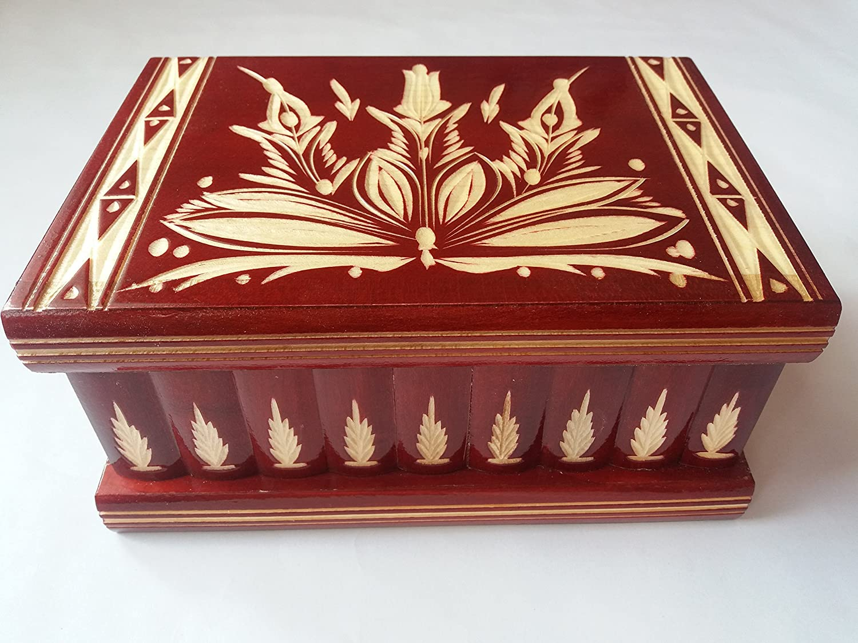Caja puzzle grande enorme del rompecabezas de la caja roja, caja secreta mágica de joyería, caja de almacenaje de madera caja tallada de la sorpresa, juguete de madera para los cabritos: Amazon.es: