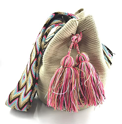 Wayuu Mochila, Bolsos Colombianos Artesanales Lisos, tanto para mujer como para hombre. (