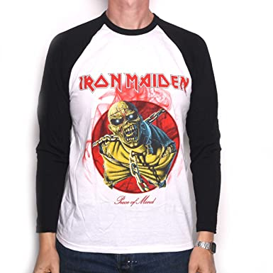 Iron Maiden Camiseta - Piece of Mind Retro manga larga 100% Official Licensed Iron Maiden personalizada: Amazon.es: Ropa y accesorios