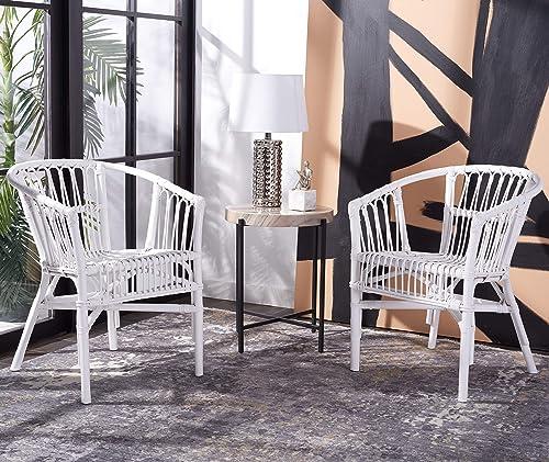 Safavieh Home Adriana Coastal White Rattan Set of 2 Accent Chair