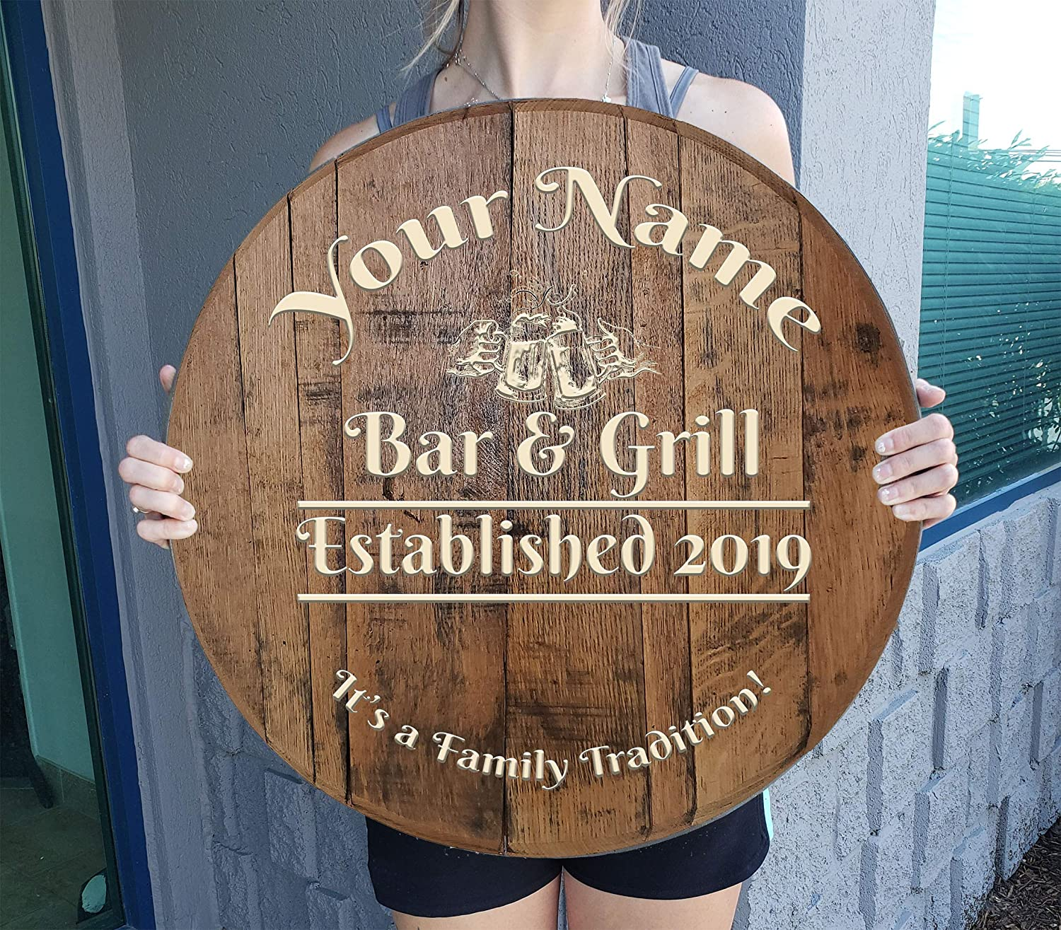 Rustic Wall Decor Personalized Whiskey Barrel Custom Bar Sign Beer Steins Personalized Custom Wall Art Gift Man Cave Wall Decor Natural Wood Brown 22 inch Wall Decor