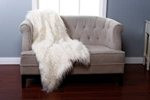 "Best Home Fashion Faux Fur Throw - Lounge Blanket - Ivory Mongolian Lamb - 58""W x 60""L - (1 Throw)"