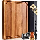 Large Wood Cutting Board with Handle - Butcher Block Cutting Board Wood Large Wooden Cutting Board Reversible Acacia Cutting