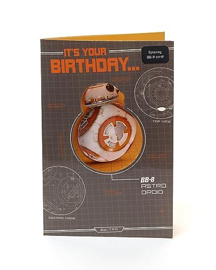 Star Wars Birthday Card.Disney Star Wars Birthday Card Novelty Spinning Bb 8