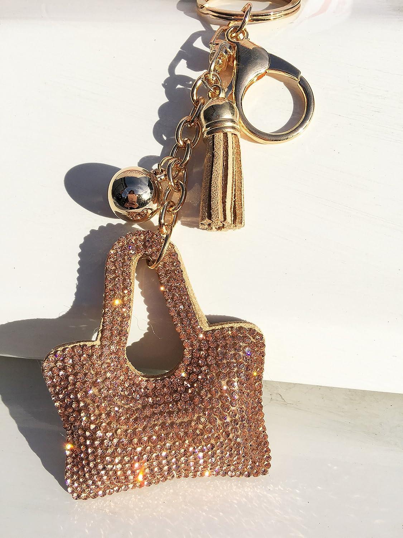 Kelly's Key Rhinestone Chain Pendant Bag Ring Crystal Charm Purse Keyring Keychain Gift Car Cute Handbag (6 Pack )