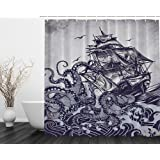 Sail Boat Waves and Octopus Old Look Home Textile European Style Bathroom Decoration Luxurious Cozy Lovely Decor Pleasing Peculiar Design Hand Drawing Effect Fabric Shower Curtain (Blue)