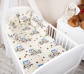 Amilian/® Baby Nestchen Bettumrandung 210 cm Design Eule wei/ß Bettnestchen Kantenschutz Kopfschutz f/ür Babybett Bettausstattung
