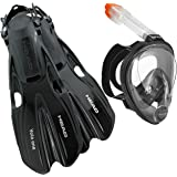 Head Sea View Dry Full Face Mask Fin Snorkel Set