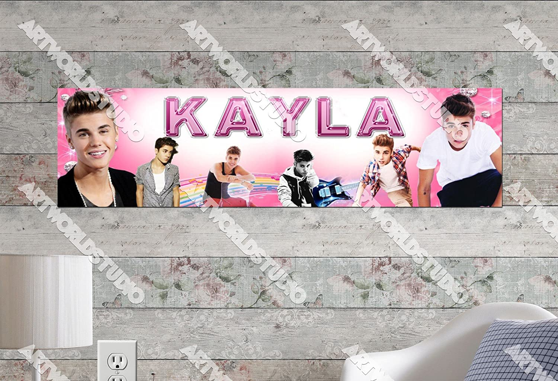 "Justin Bieber Poster 30/"" x 8.5/"" Custom Name Painting Printing"