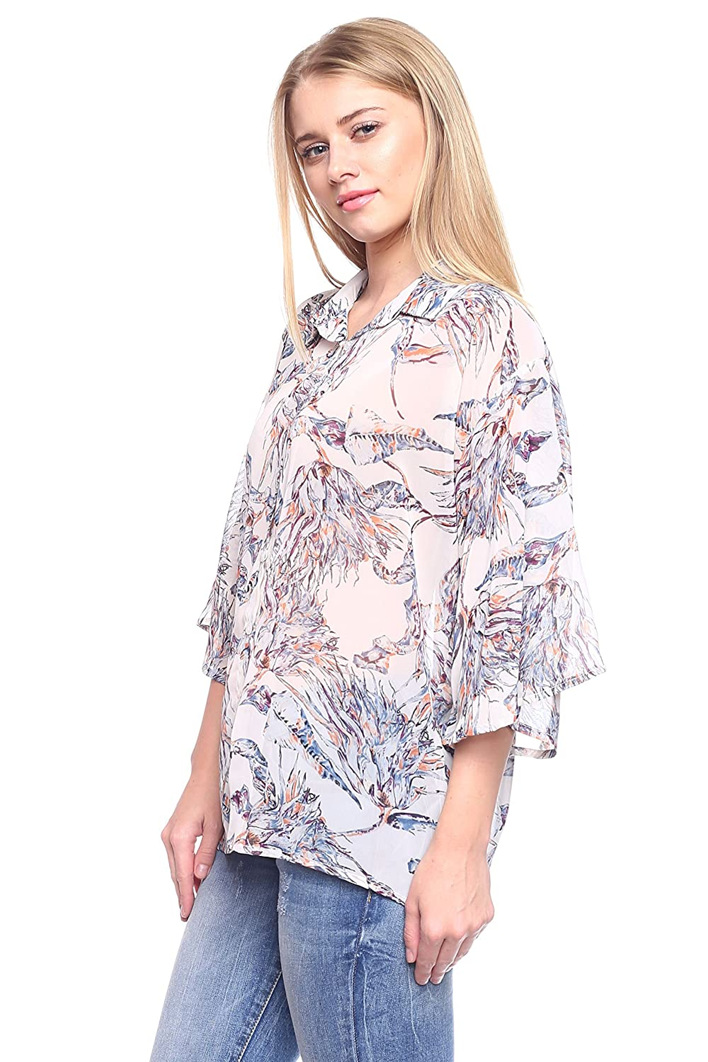 Rokoko Womens 3//4 Sleeve Button Down Printed Shirt Blouse