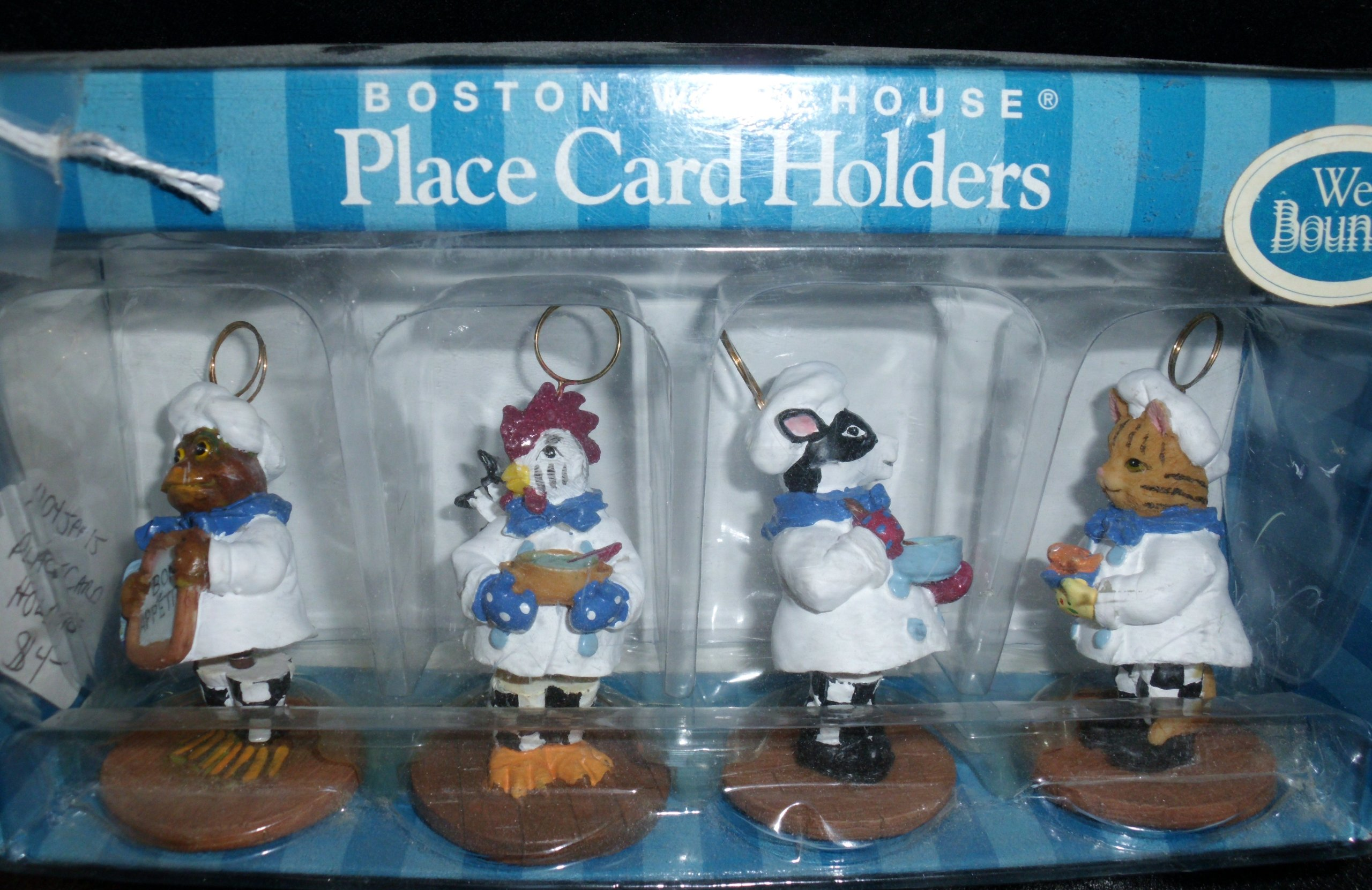 Boston Warehouse Bouncy Animal Chef Place Card Holders (set of 4) - Item 18642