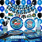 TMCCE Blue Video Game Party Supplies Gaming Party Decoration For Paper Plates,Cups,Napkins, Straws,Hanging Swirls,Balloons An