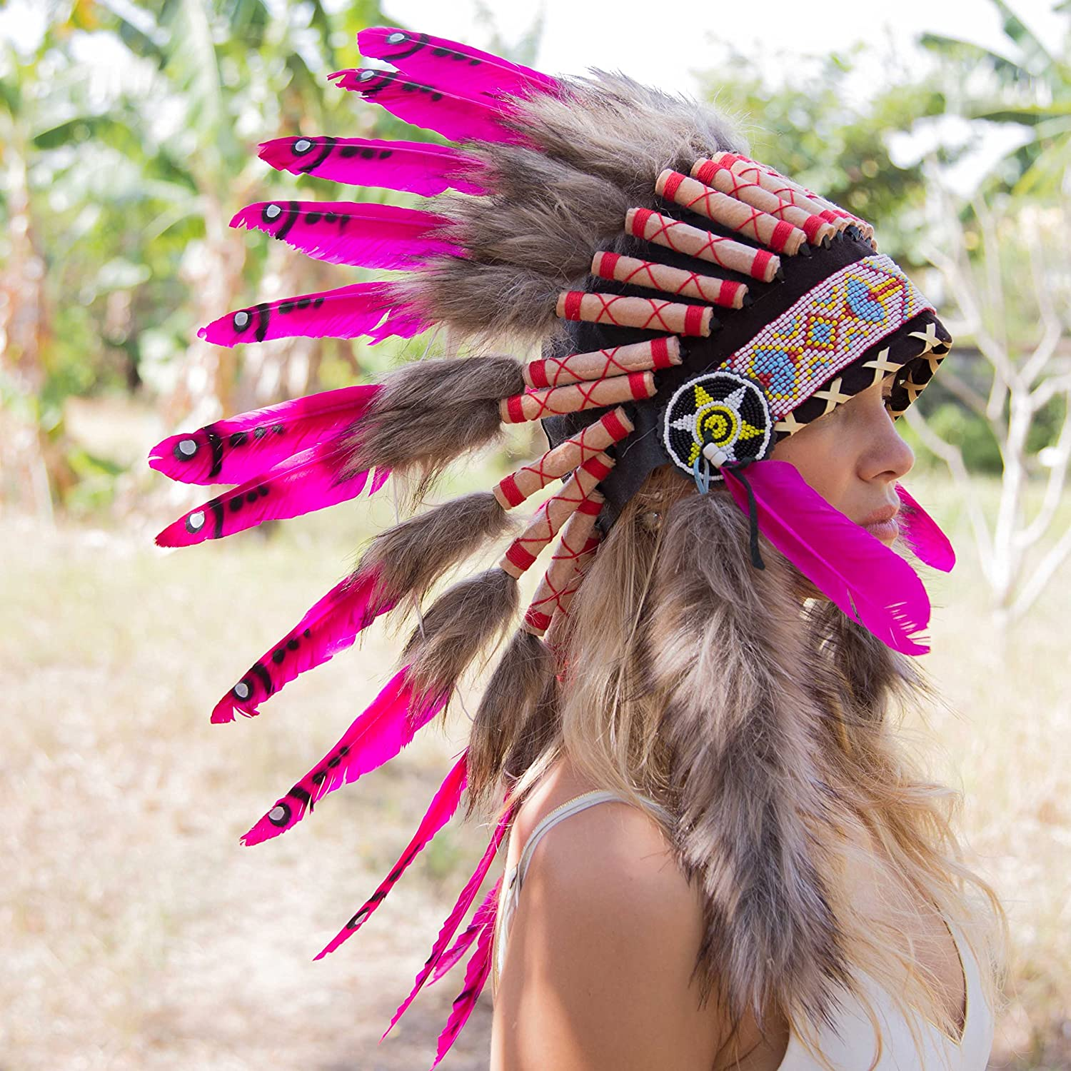 White Tips Novum Crafts Feather Headdress Native American Indian Inspired