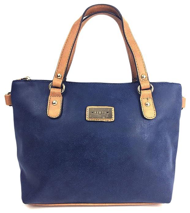 Savvy Street - Bolso de asas para mujer Marrón azul marino: Amazon.es: Zapatos y complementos