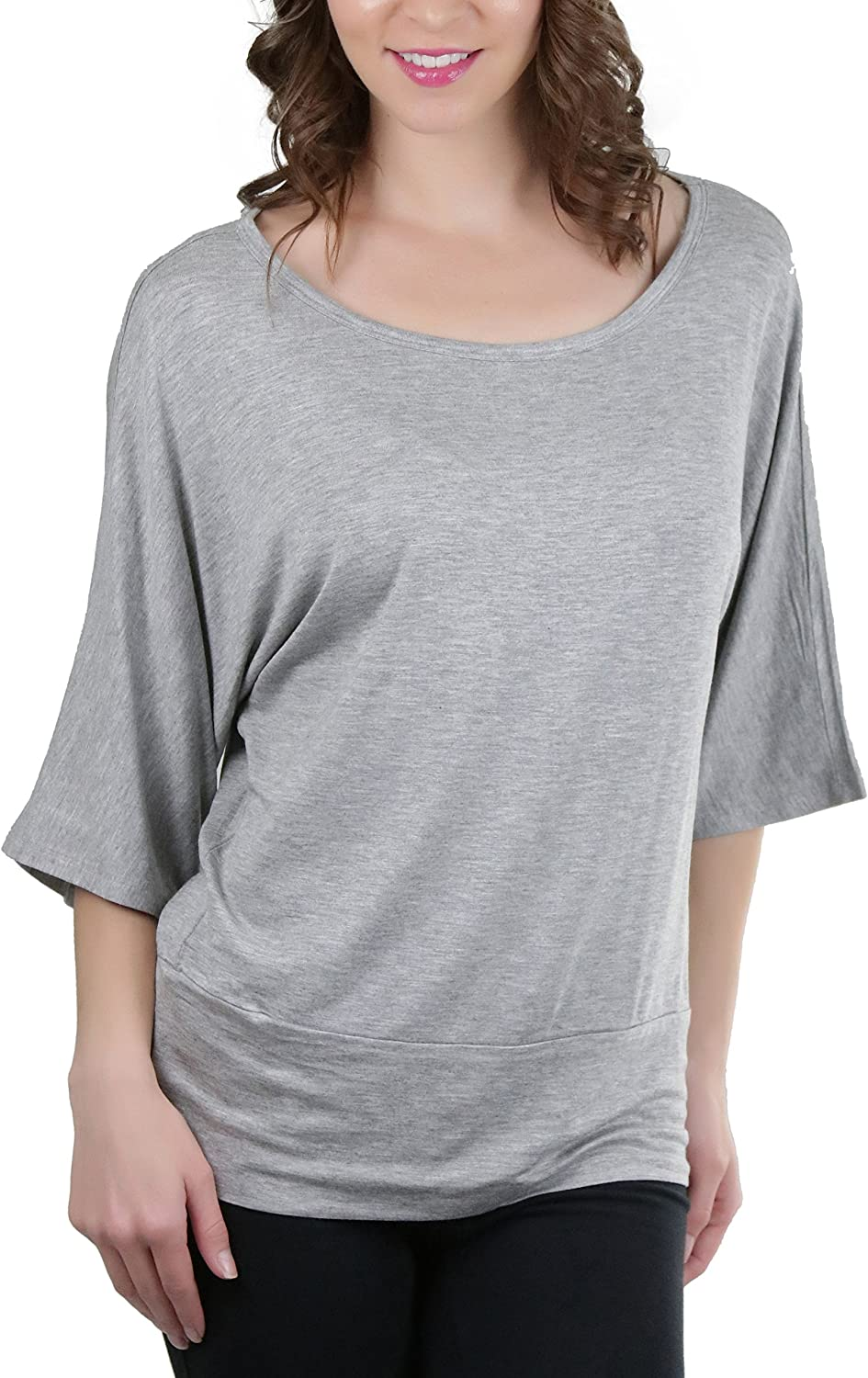 New Women/'s Dolman Long Sleeve Lightweight Relaxed Casual Basic Top w Banded Hem