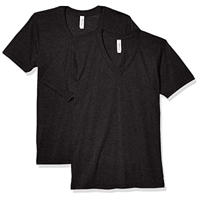 Marky G Apparel Men's Blend Short Sleeve V-Neck T-Shirt (2 Pack), Tri Black, 2XL | .com