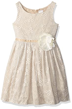 c3c7050b5 Amazon.com: Sweet Heart Rose Girls' Little Sleeveless Embroidered Dressy  Dress with Flower Detail: Clothing