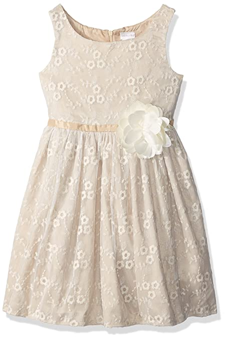 Sweet Heart Rose Little Girls' Sleeveless Embroidered Dressy Dress with Flower Detail, Ivory/Gold, 6x