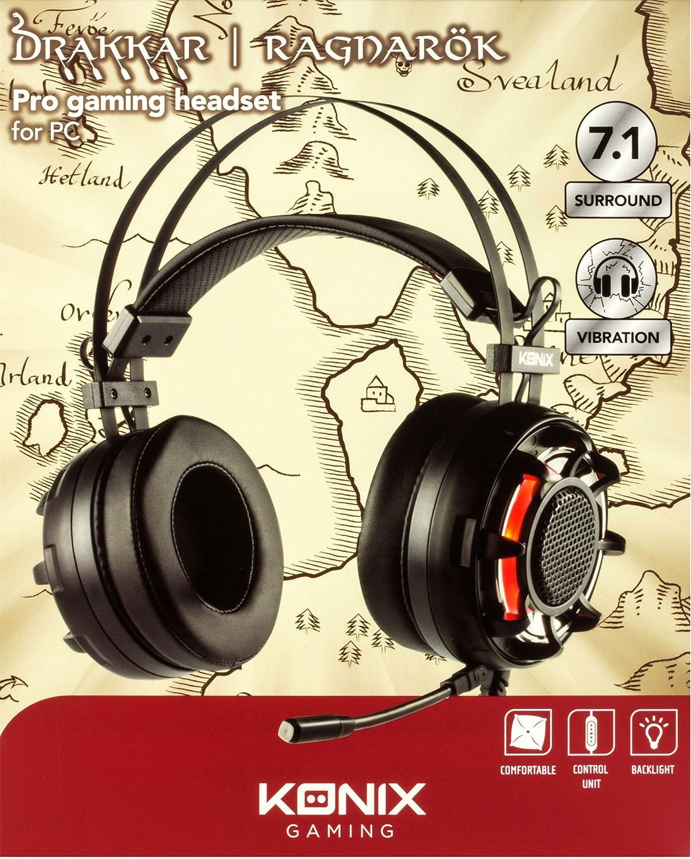 Konix Ragnarok - Auriculares con micrófono para Juegos, Color Negro: Konix: Amazon.es: Informática