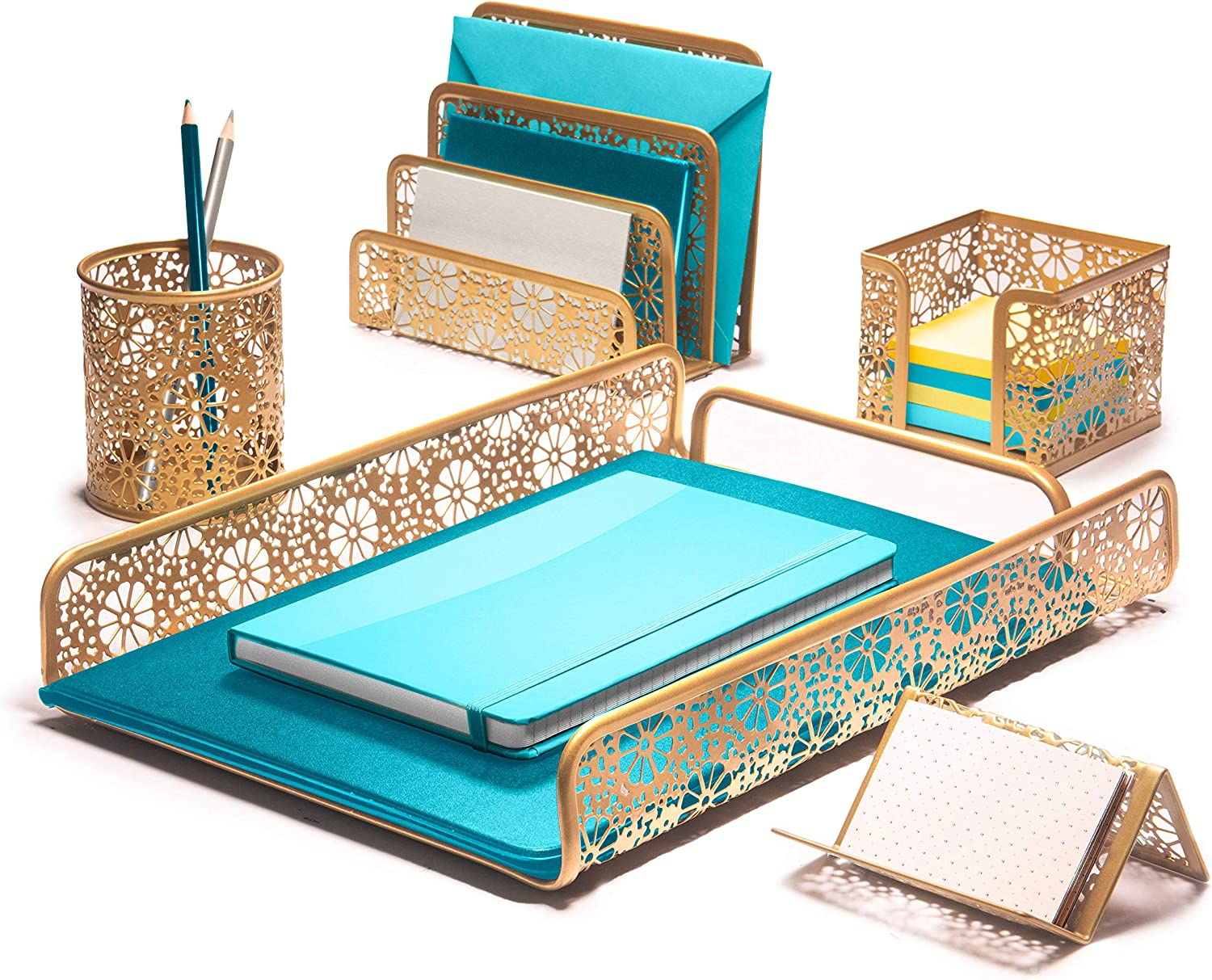 Hudstill Gold Cute Desk Organizer Set for Women and Girls in Pretty Design with 5 Office Supplies Accessories : File Tray, Mail Sorter, Pen Cup, Holders for Sticky Notes, Business Cards or Cellphones
