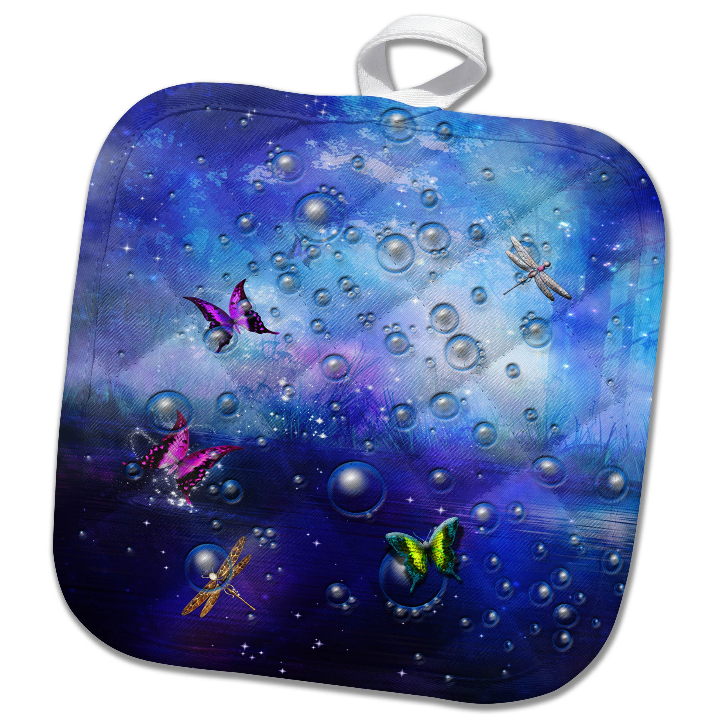 3dRose Fantasy - Transparent bubbles and butterflies in purple gradient backdrop - 8x8 Potholder (phl_265967_1)