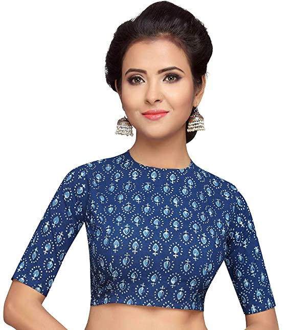 durable service complete in specifications best selection of STUDIO SHRINGAAR WOMEN'S COTTON INDIGO BLUE PRINTED SAREE BLOUSE WITH JEWEL  NECK