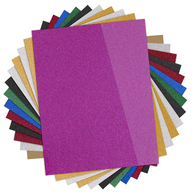 Glitter Heat Transfer Vinyl HTV - 13 Pack 12''x10'' Iron On Vinyl for Cricut & Silhouette Cameo (Teflon Sheet Included), 9 Assorted Colors HTV Glitter Bundle of Heat Press Vinyl, Easy to Cut & Press by HTVRONT