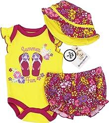 c3df90019 Weeplay Kids Buster Brown Baby Girls Clothing, Summer Fun 3 Piece Creeper  Apparel Set