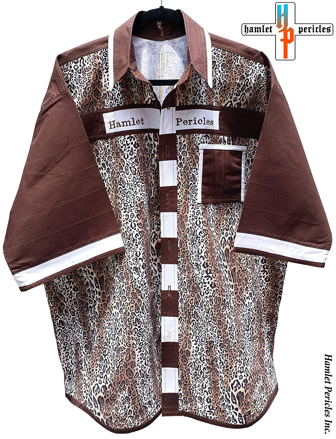 Amazon.com: Cheetah Print Mens Shirt | XXL Shirt | Big Wild Cat | Brown White Patchwork | Animal Print | Button-up Shirt by Hamlet Pericles | S111212: ...