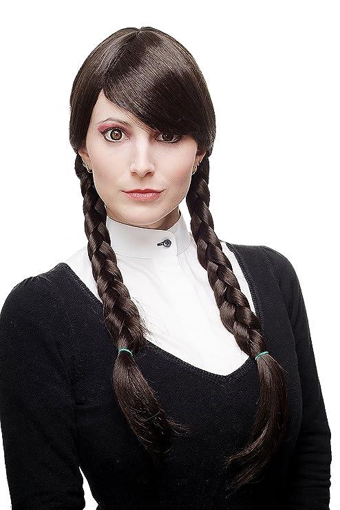 WIG ME UP ® - 3446-4 Peluca mujer Cosplay calidad trenzas trenzado largo marron