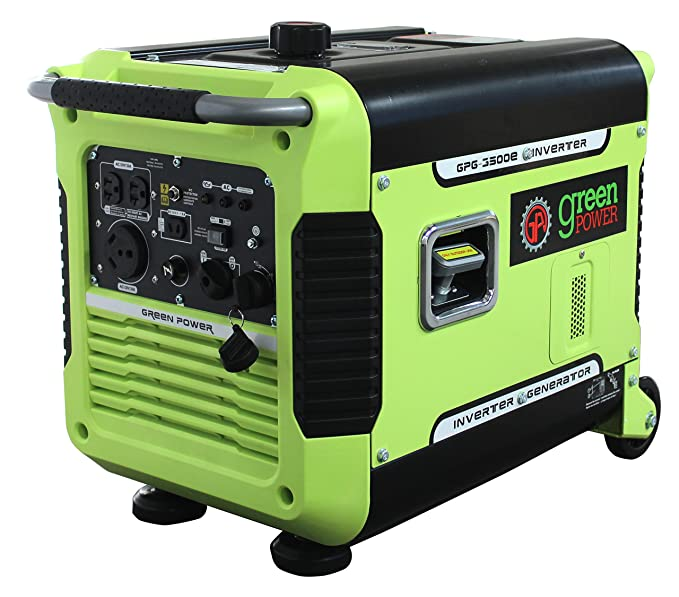Green-Power America GPG3500iE 3500W Inverter Generator, Green/Black