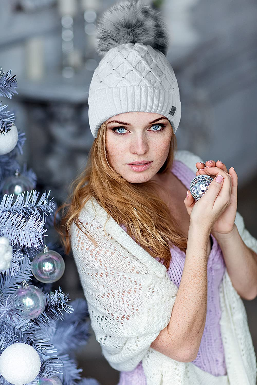 MFAZ Ltd morefaz Wurm Winter Strickm/ütze M/ütze Damen Kristalle Kiesel mit Gro/ße Pelz Bommel Pompon l SKI