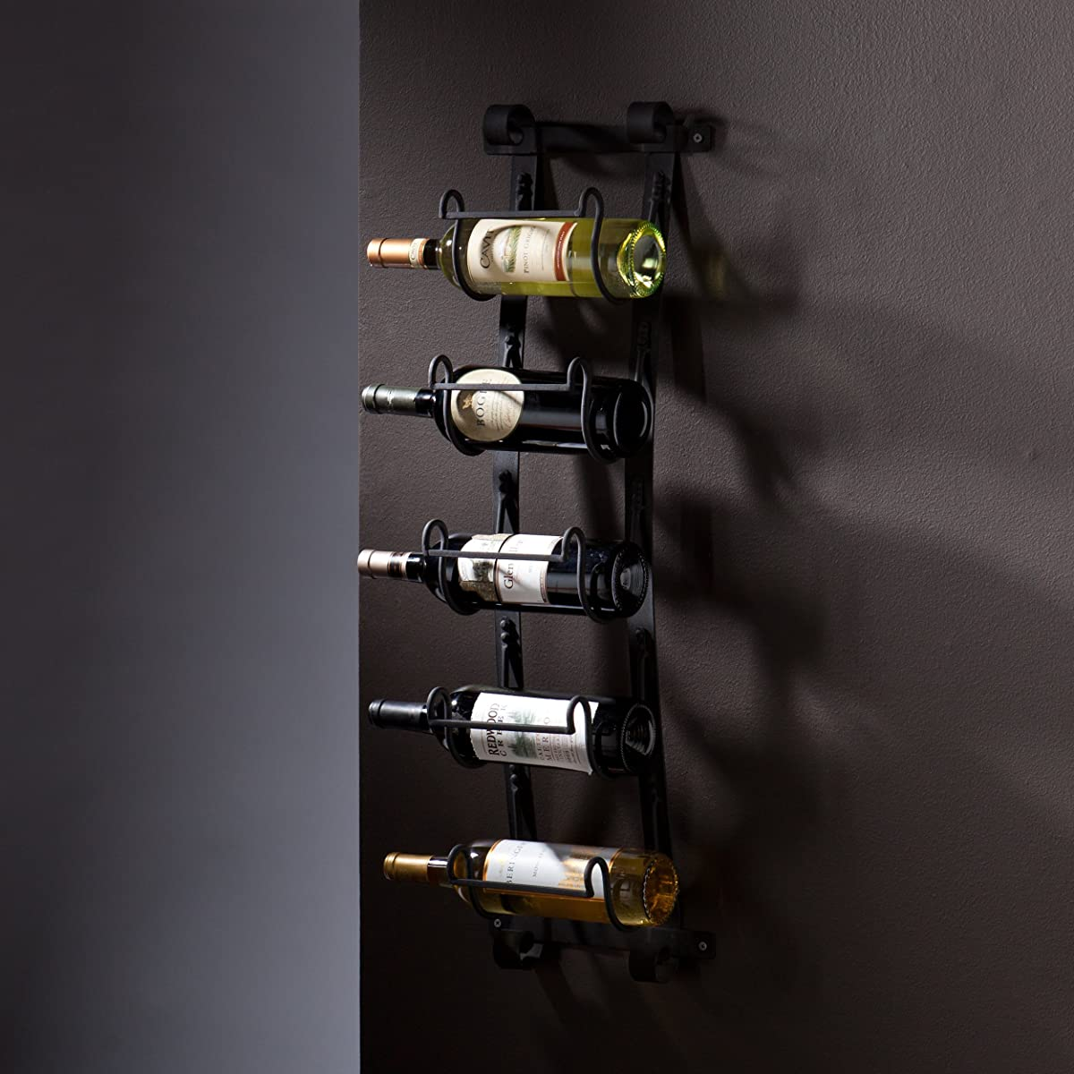 SEI Southern Enterprises Ancona 5 Wine Bottle Wall Mount Rack, Natural Wrought Iron Finish