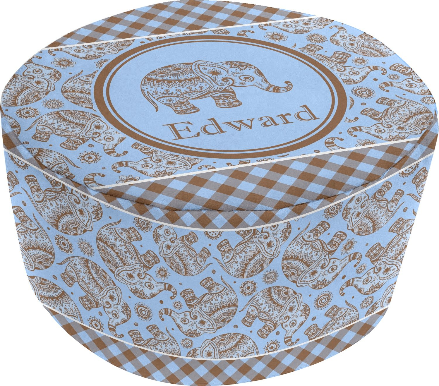 Gingham & Elephants Round Pouf Ottoman (Personalized)
